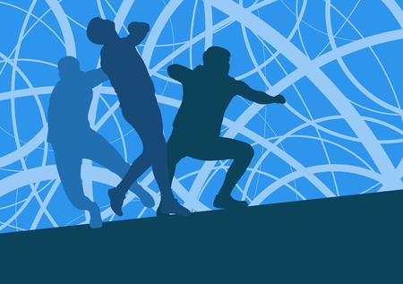 Shot setzen Athlet Track und Feld Leichtathletik Vektor Hintergrund Konzept abstrakten Hintergrund mit Mann in Bewegung verschiedenen Positionen Standard-Bild - 81063488