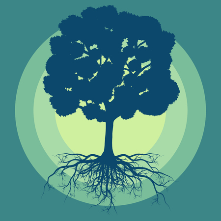 Tree with roots vector abstract background concept with vintage colors