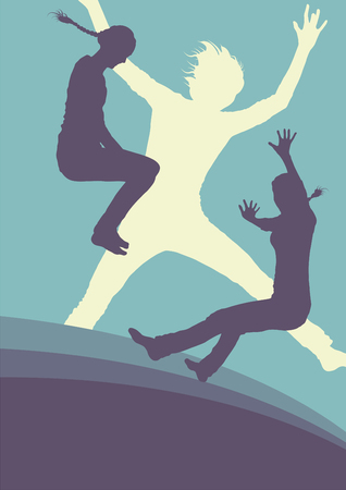 Woman jump active happiness expression vector background concept Illustration