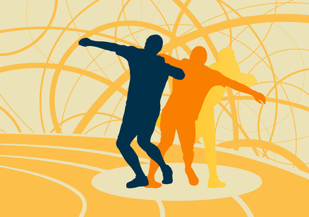 shot put: Shot put athlete track and field athletics vector background concept abstract background with man in motion different positions