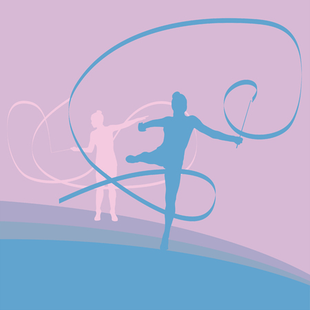 flexibility: Gymnast ribbon female dance vector background