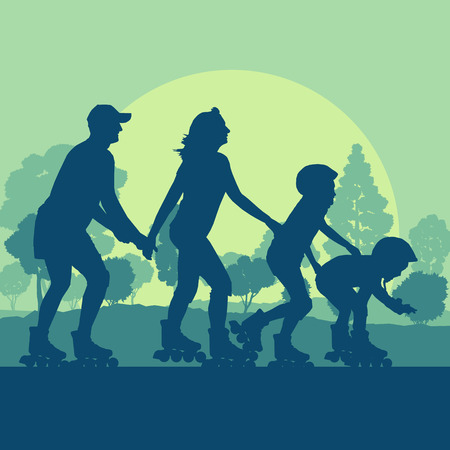 elbow pads: Family inline skating in park vector background landscape with trees Illustration