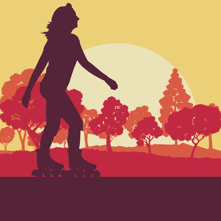 Woman inline skating vector abstract background