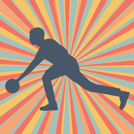 Man bowling player vector abstract background Illustration