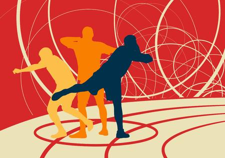 Kugelstoßenathletik Leichtathletikvektorhintergrund-Konzeptzusammenfassungshintergrund mit Mann in den verschiedenen Positionen der Bewegung Standard-Bild - 81064187
