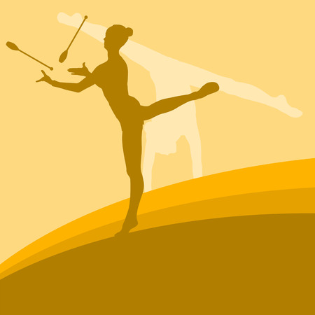 indian teenager: Female with indian clubs gymnast vector background