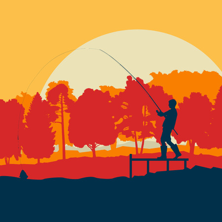 Fisherman near pond and trees vector landscape background with sunset