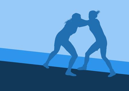 tough woman: Greek roman wrestling woman fight vector background Illustration