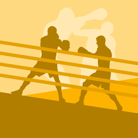 kickboxing: Boxer man fight in boxing ring vector background with retro colors