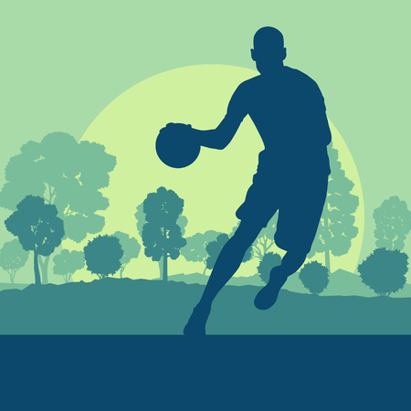 Basketball man player relaxing in park vector background landscape with trees Illustration
