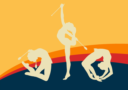flexibility: Female with indian clubs gymnast vector background