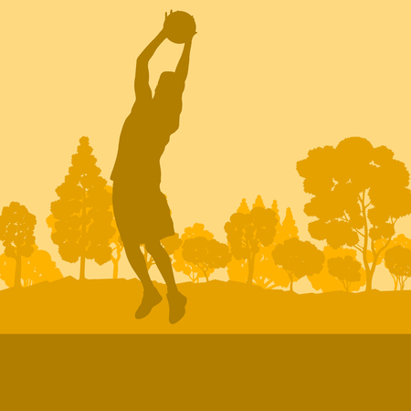 Basketball man player relaxing in park vector background landscape with trees Vettoriali