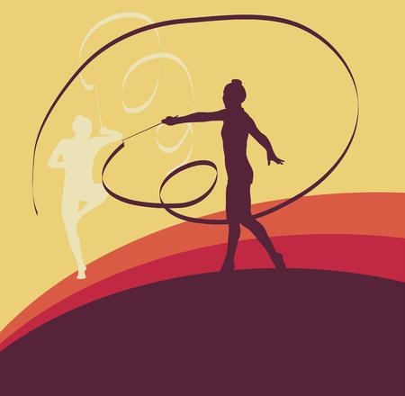 Гимнаст лента женский фон вектор танца Иллюстрация
