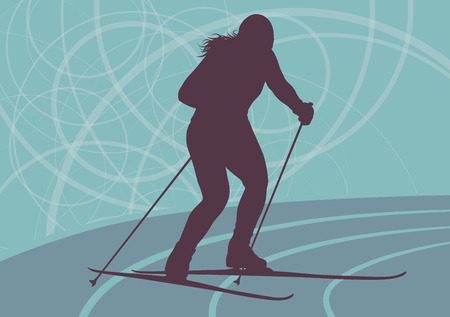 Skiing woman professional abstract vector background with retro colors Stock Illustratie