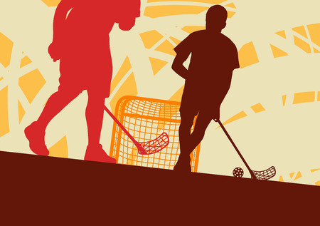 Floorball player indoor abstract vector background man with stick and ball