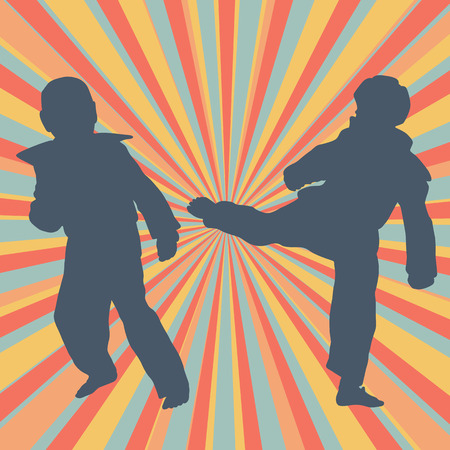 Taekwondo children fight training vector abstract background