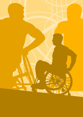 paraplegico: Wheelchair disabled man willpower concept vector background Vectores
