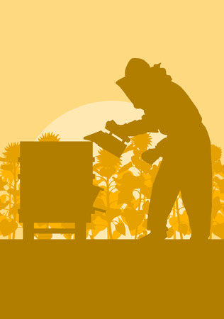 Beekeeper working in apiary in front of sunflower field vector background Illustration