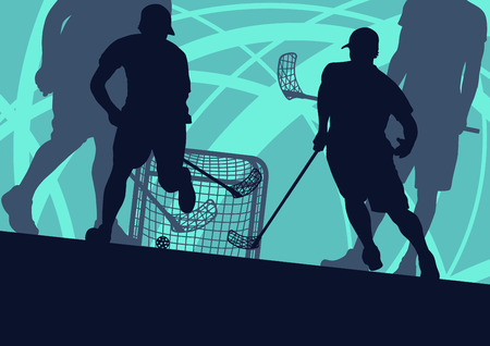 Floorball player indoor abstract vector background man with stick and ball Фото со стока - 85242335
