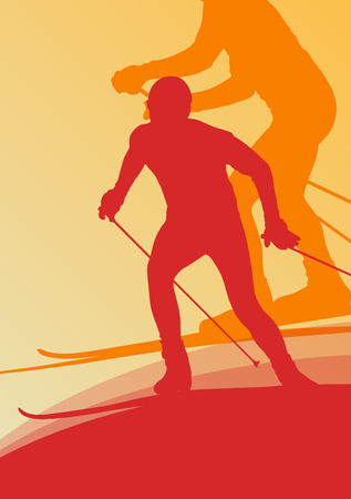 dangerous man: Skiing athlete competition vector abstract background concept