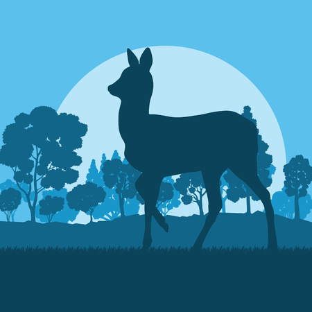 Roe deer in forest field with sunset and trees vector background Иллюстрация