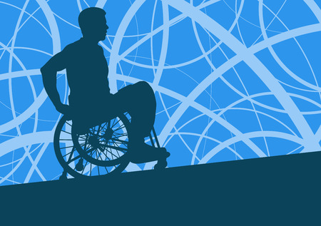 willpower: Wheelchair disabled man willpower concept vector background Illustration
