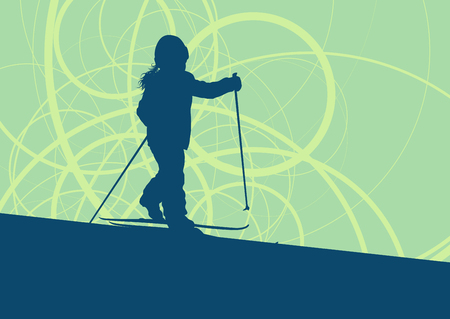 Kid skiing training vector abstract background
