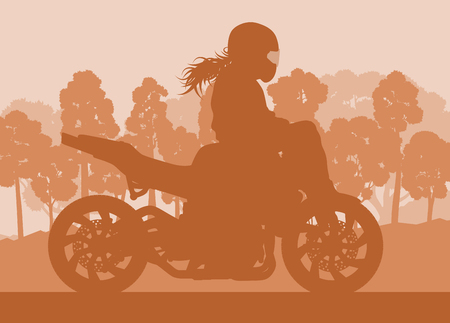 Motorcycle stunt driver vector background with trees and sunset