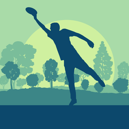 Flying disc throw game man playing in park with trees vector background