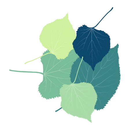 Linden leaves vector abstract background with retro green colors