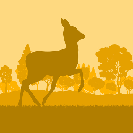 Roe deer in forest field with sunset and trees vector background Ilustração
