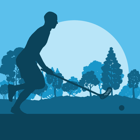 Floorball player in park with hockey stick and ball in sunset and in front of trees vector background