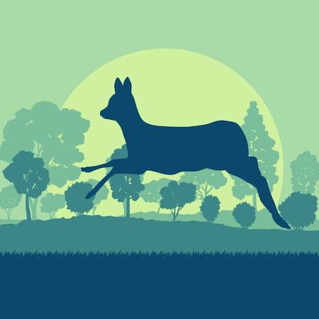 Herten in bosveld met zonsondergang en bomen vector achtergrond