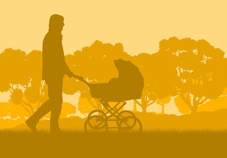 Father with baby cart in park walking vector background Illustration