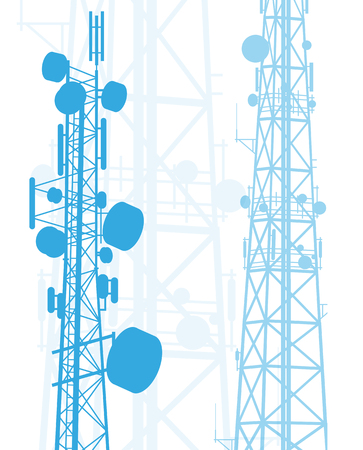 Telecommunication tower blue constructions vector background isolated on white Vettoriali