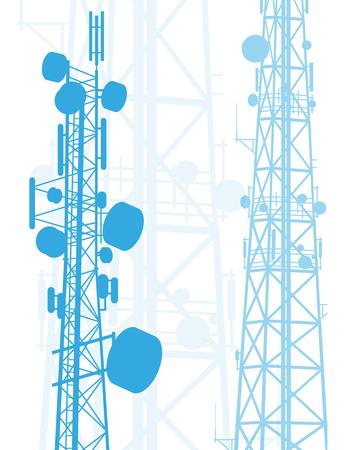 Telecommunicatie toren blauwe constructies vector achtergrond geïsoleerd op wit Stock Illustratie