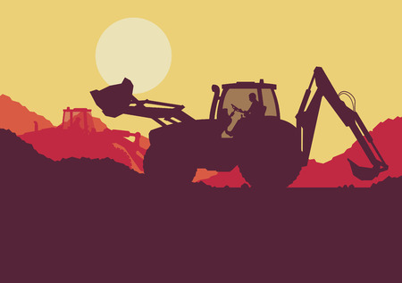Excavator loader tractor digging ground earth industrial construction site vector background illustration