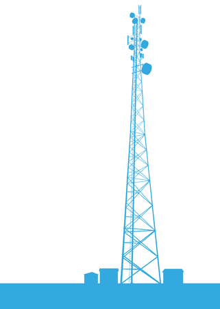 Telecommunication tower blue constructions vector background isolated on white Illustration