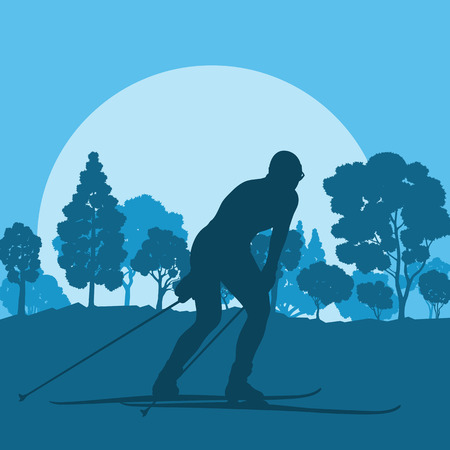 slope: Woman skiing in forest vector background landscape with sunset Illustration