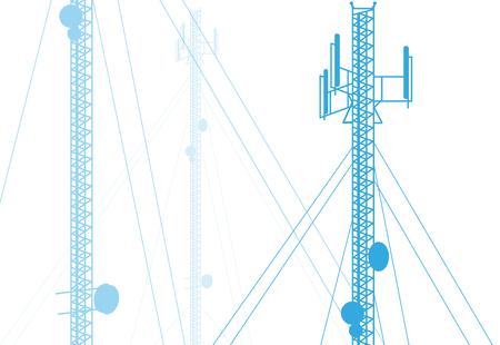 通信タワーの青い構造ベクトル背景白で隔離  イラスト・ベクター素材