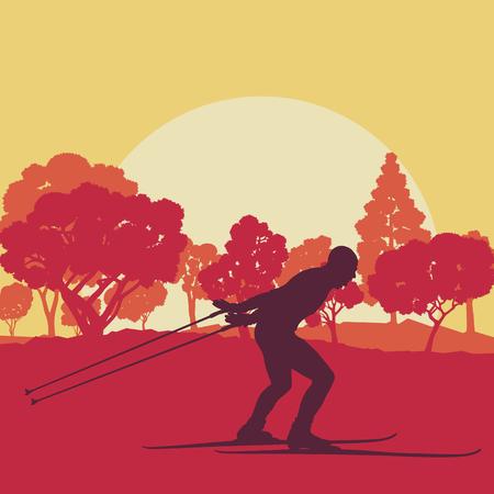 フォレスト ベクトル背景風景夕日の中スキー男