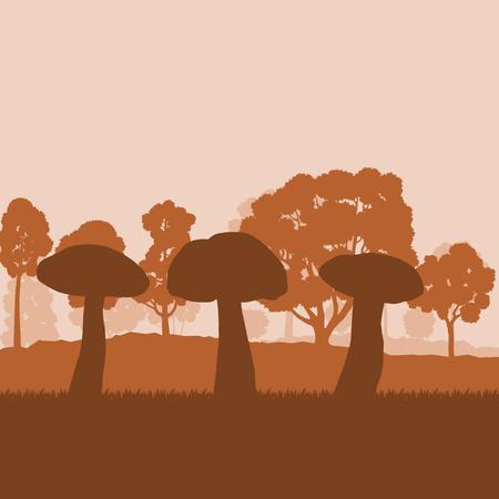 夕日と木ときのこの森フィールド風景のベクトルの背景