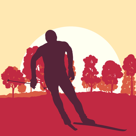 Skiing man in forest vector background landscape with sunset Illustration