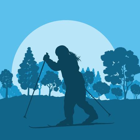 フォレスト ベクトル背景風景夕日冬休みの中スキー子供  イラスト・ベクター素材