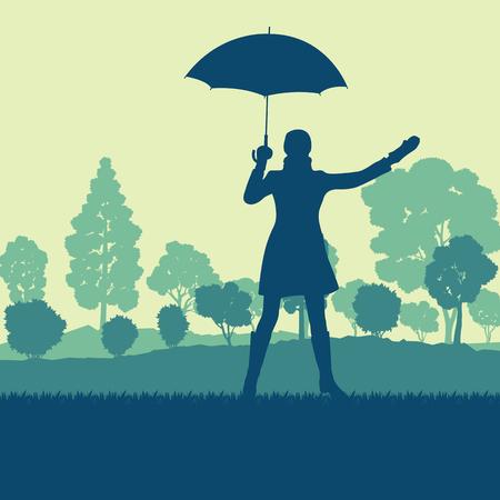 傘とコート秋木サンセット風景ベクトルの背景を持つ女性  イラスト・ベクター素材