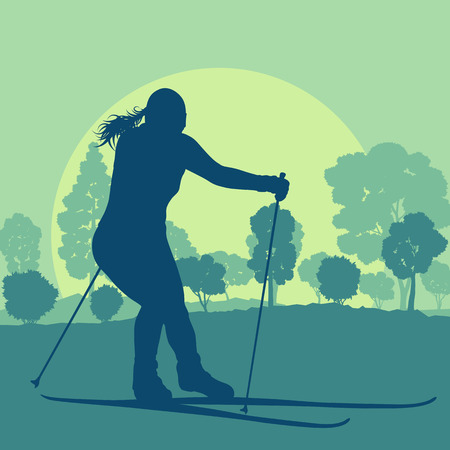 Woman skiing in forest vector background landscape with sunset Illustration