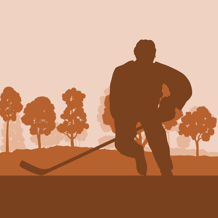 Hockey player on ice lake with stick landscape with snow trees vector background