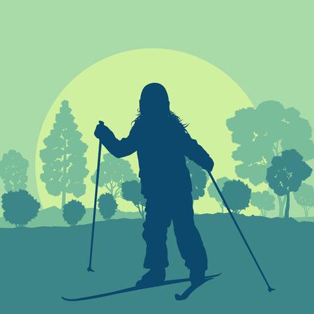 Skiing children in forest vector background landscape with sunset winter vocation Illustration
