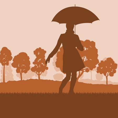 Woman with umbrella and coat autumn tree sunset landscape vector background Illustration