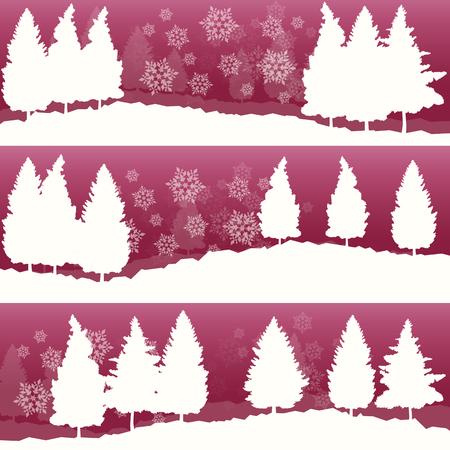木と雪ベクトル抽象的な背景を持つ冬の風景